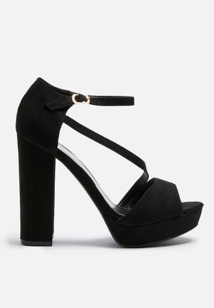 Missguided Asymmetric Strap Platform Heels Black