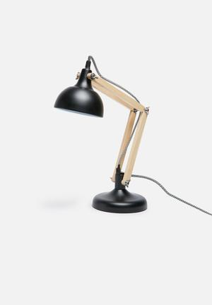Sixth Floor Urban Table Lamp Lighting Powder Coated Metal With Wood