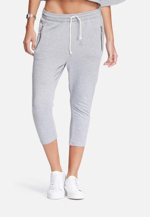 Dailyfriday Cropped Zip Pocket Joggers Bottoms Grey