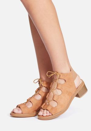 Missguided Elastic Block Heel Tan