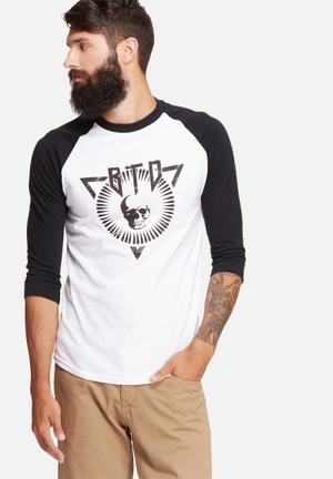 Basicthread 3/4 Graphic Raglan Tee T-Shirts & Vests White & Black