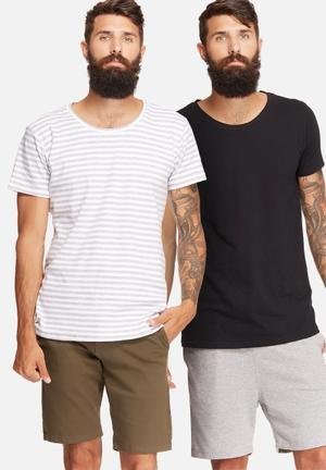 Basicthread 2 Pack Scoop Neck Tee T-Shirts & Vests White, Grey & Black