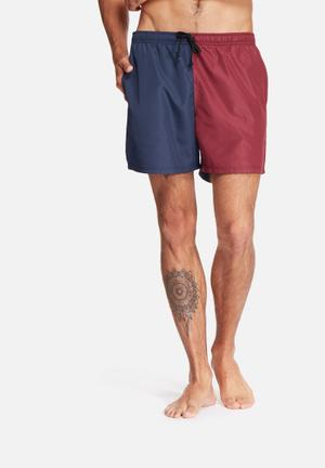 Basicthread Swimshort Cut & Sew Swimwear Burgundy & Navy