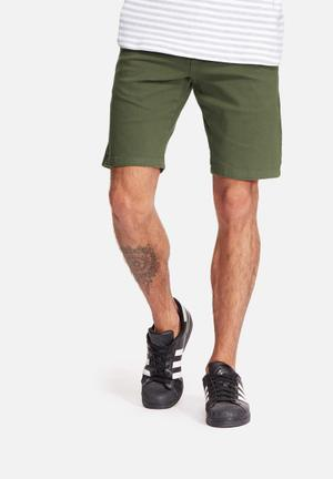 Basicthread Slim Fit Chino Shorts Khaki Green