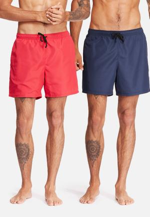 Basicthread 2pack Swimshort Swimwear Navy & Red