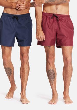 Basicthread 2 Pack Swimshorts Swimwear Navy & Burgundy