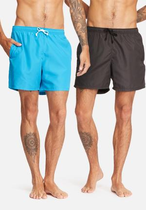 Basicthread 2pack Swimshort Swimwear Black & Turquoise