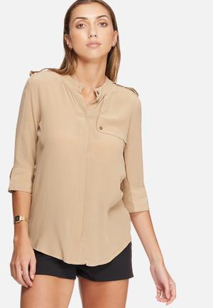Selected Femme Darmi Silk Shirt Beige