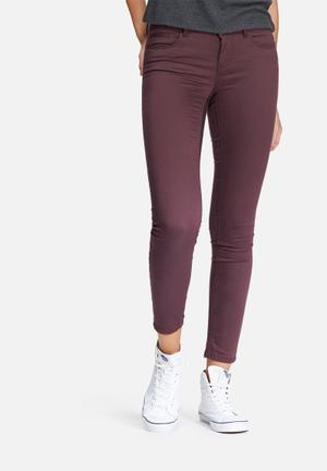 ONLY Elena Regular Skinny Pants Trousers Burgundy