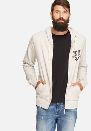 Jack & Jones Vintage Hunter Sweat Zip Hood Hoodies & Sweatshirts White, Grey & Navy