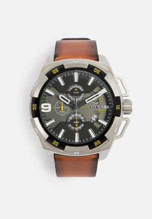 Diesel  Heavy Weight Watches Silver / Black / Brown Strap