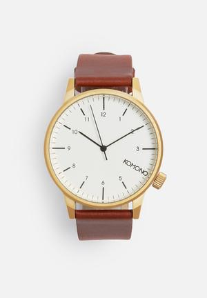 Komono  Winston Regal Watches White / Gold / Brown Strap