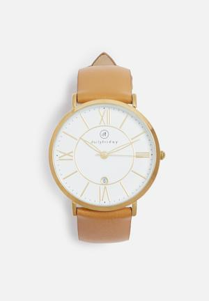 Dailyfriday Amy Leather Watch Tan & Gold