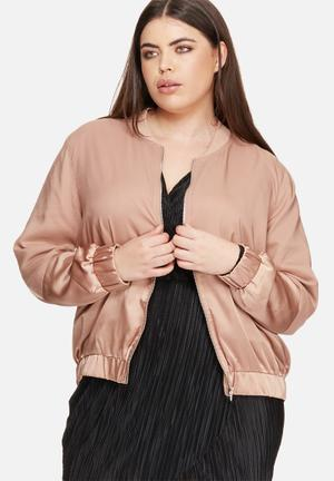 Missguided Plus Size Satin Bomber Jacket Brown