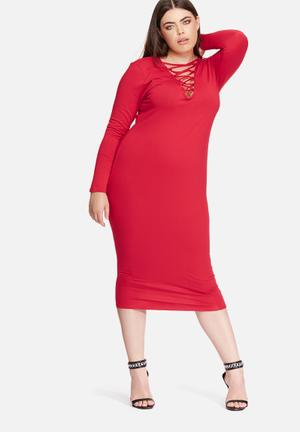 Missguided Plus Size Lace Up Dress Red