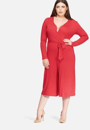 Missguided Plus Size Wrap Jumpsuit Dresses Red