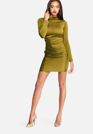 Missguided Pleated Bodycon Dress Casual Olive Green