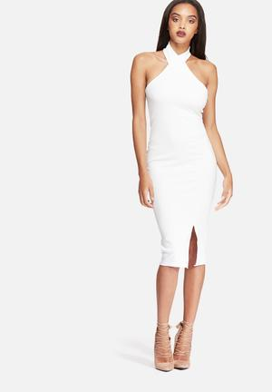 Missguided Asymmetric Halterneck Midi Dress Occasion White