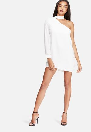 Missguided Choker Asymmetric Shift Dress Occasion White