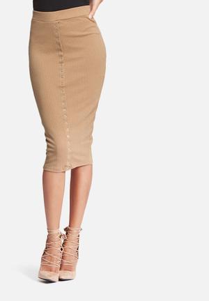 Missguided Ribbed Popper Skirt Camel