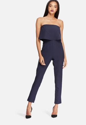 Missguided Bandeau Double Layer Jumpsuit Navy