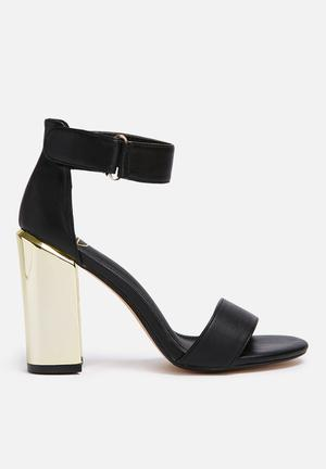 Missguided Gold Block Heel Black & Gold
