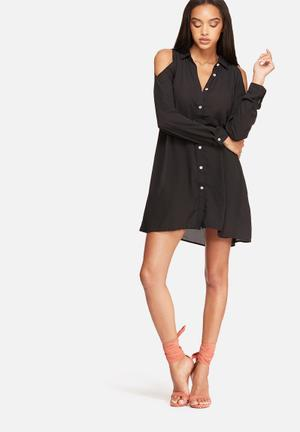 Missguided Cold Shoulder Swing Shirt Dress Casual Black