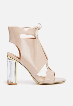 Missguided Perspex Heel Lace Up Nude