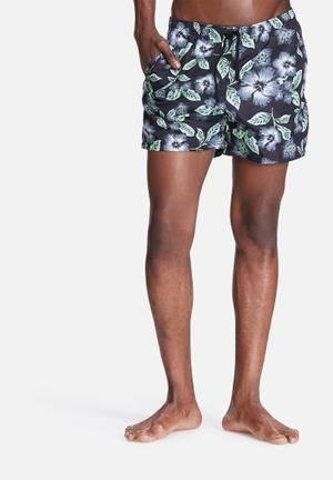 Basicthread Floral Swimshort Swimwear Black, Blue & Green