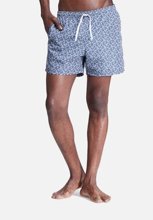 Basicthread Liberty Swimshort Swimwear Navy & White