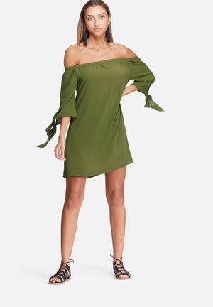 Dailyfriday Off Shoulder Sleeve Tie Dress Casual Green