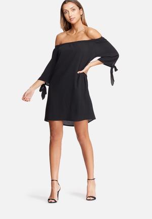 Dailyfriday Off Shoulder Sleeve Tie Dress Casual Black