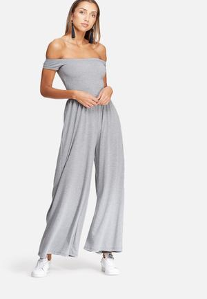 Dailyfriday Off Shoulder Jumpsuit Grey
