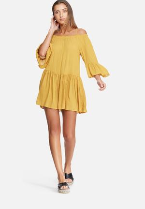 Dailyfriday Tiered Cold Shoulder Dress Casual Mustard