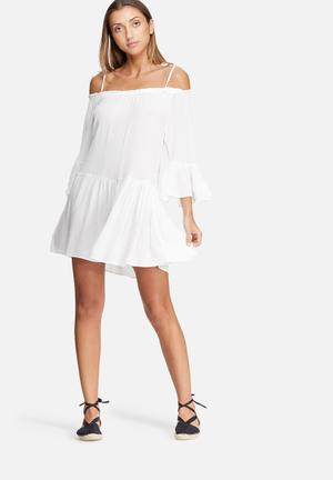 Dailyfriday Tiered Cold Shoulder Dress Casual White
