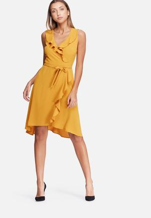 Dailyfriday Frill Midi Wrap Dress Occasion Yellow