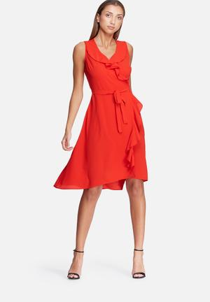 Dailyfriday Frill Midi Wrap Dress Casual Red