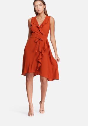 Dailyfriday Frill Midi Wrap Dress Occasion Burnt Orange