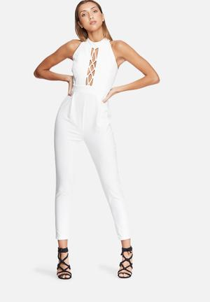 Dailyfriday High Neck Lace Up Jumpsuit Occasion White