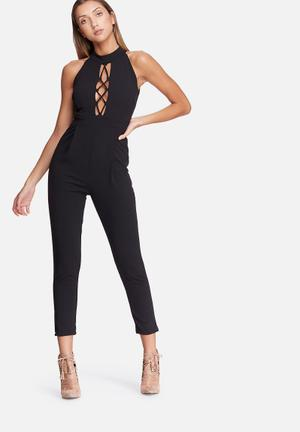 Dailyfriday High Neck Lace Up Jumpsuit Occasion Black