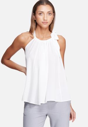 Dailyfriday Self Fabric Neck Tie Top Blouses White