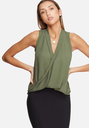 Dailyfriday Sleeveless Wrap Front Top Blouses Olive