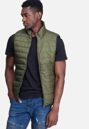 Only & Sons Jake Sleeveless Bomber Jackets Green