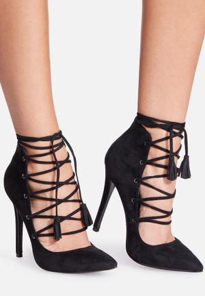 Missguided High Back Lace Up Court Heels Black