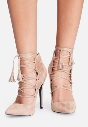 Missguided High Back Lace Up Court Heels Nude