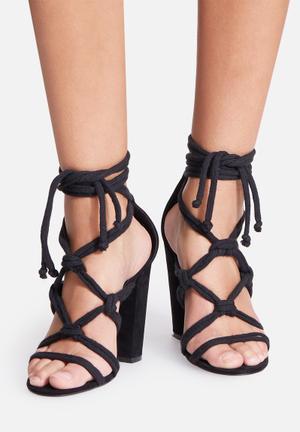 Missguided Macrame Rope Heel Black