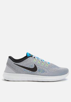 Nike Free Run Sneakers Wolf Grey / Black / Blue Glow / Volt / Off White