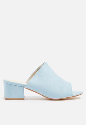 Truffle Arora Mule Heels Soft Blue