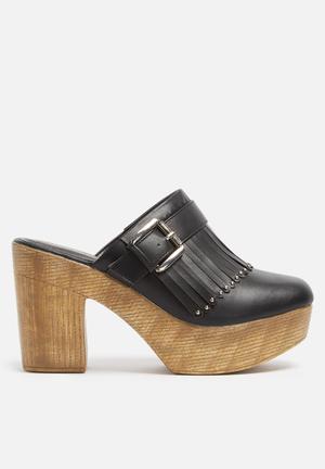 Truffle Camari Mule Heels Black