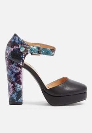 Glamorous Viper Platform Heels Black, Purple & Blue